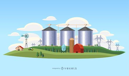 Ilustração de paisagem de indústria do país