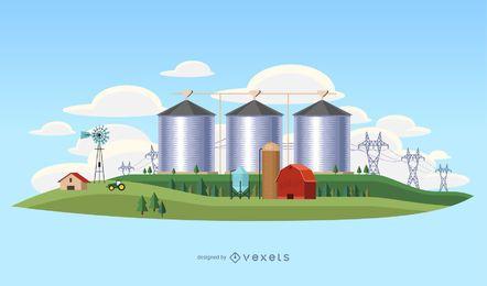 Ilustración de paisaje de la industria de país