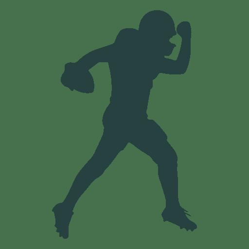 Jogador de futebol americano jogando silhueta de bola Transparent PNG