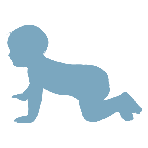 Baby crawling silhouette