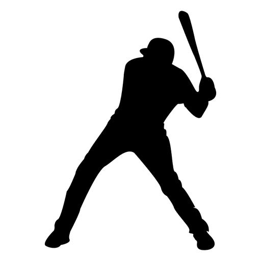 Baseball player strike silhouette