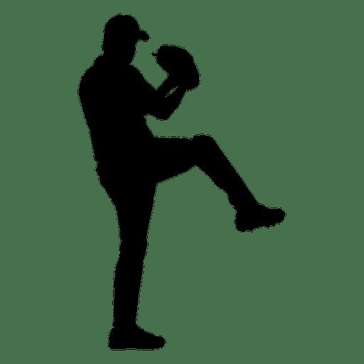 Baseball player throw silhouette