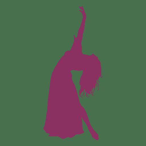 Belly dancer bending silhouette