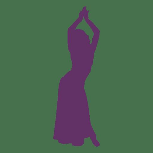 Bailarina del vientre manos arriba silueta Transparent PNG