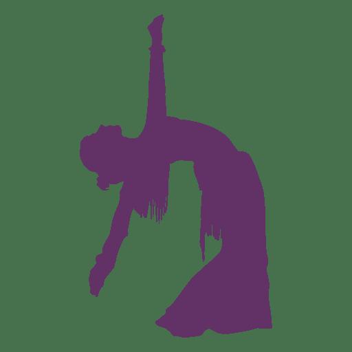 Silueta de bailarina de danza del vientre doblada