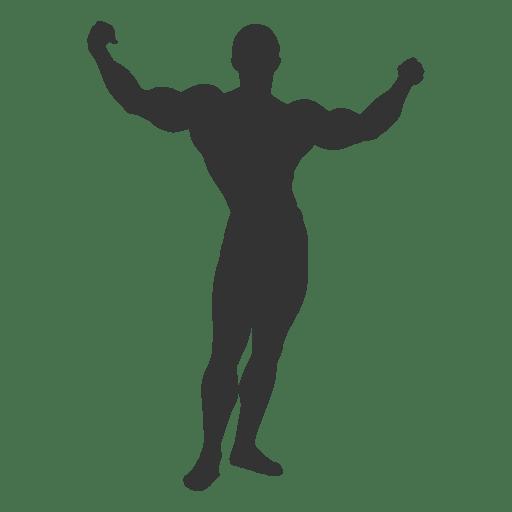Bodybuilder crucifijo pose silueta