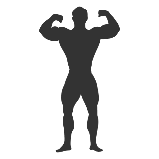 Bodybuilder double biceps pose silhouette