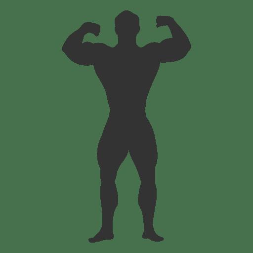 Silueta de pose de doble bíceps culturista