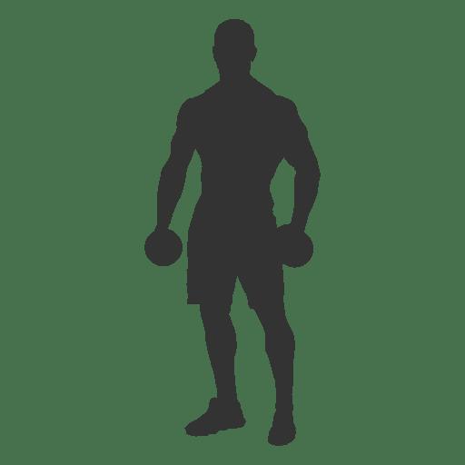 Bodybuilder dumbbells silhouette