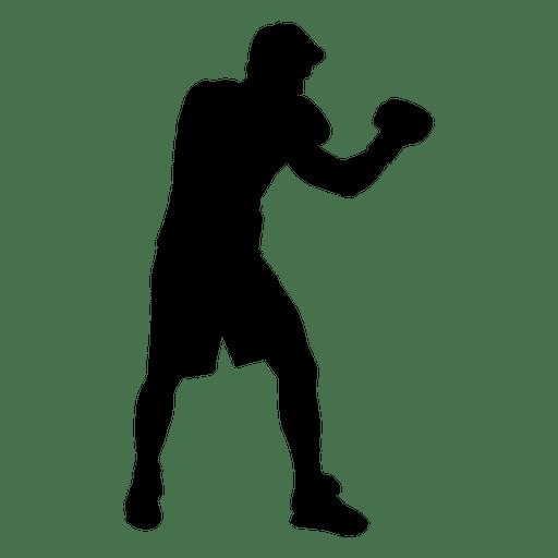 Jugador de boxeo guardia silueta