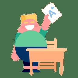 Menino, um, grau, escrivaninha, ilustração