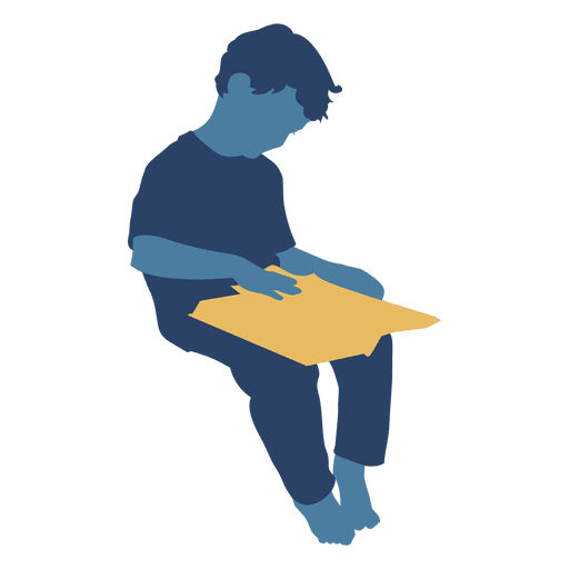 Boy reading book silhouette