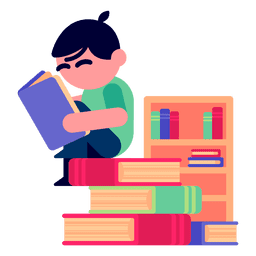 Boy reading books illustration