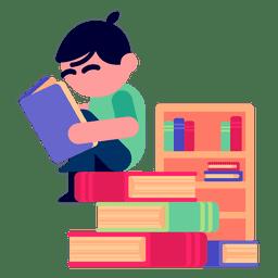 Menino, leitura, livros, ilustração