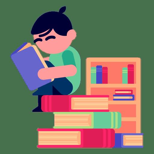 Boy reading books illustration Transparent PNG