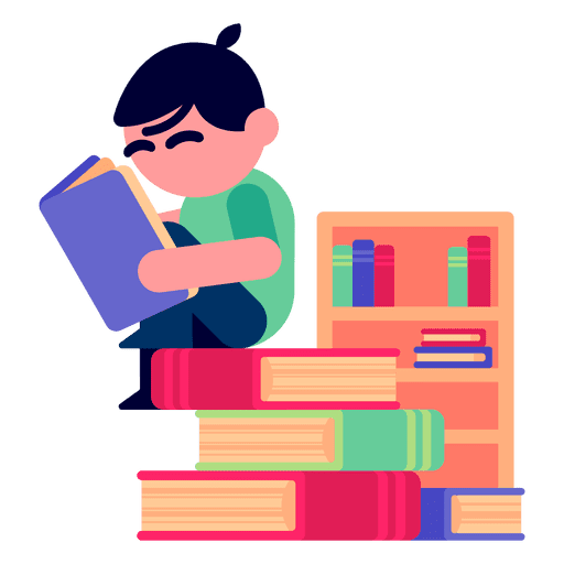 Boy reading books illustration