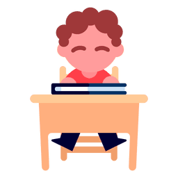Boy reading illustration