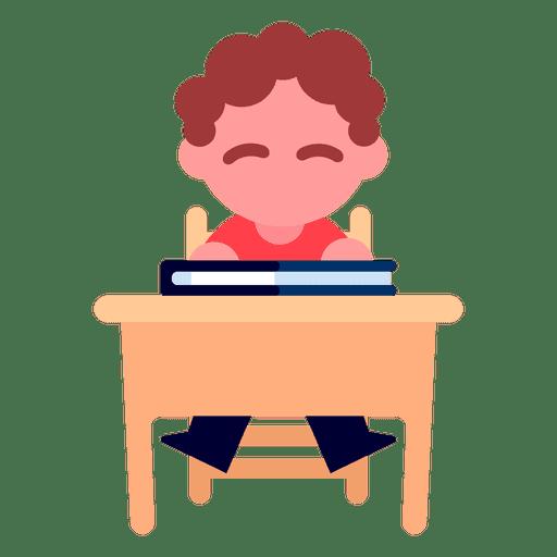 Boy reading illustration
