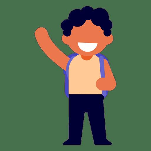 Boy waving illustration Transparent PNG