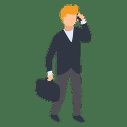 Homem negócios, falando, telefone, ilustração