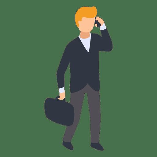 Homem negócios, falando, telefone, ilustração Transparent PNG