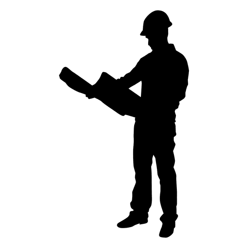 Construction worker plan reading silhouette Transparent PNG