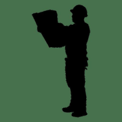 Construction worker plan silhouette Transparent PNG