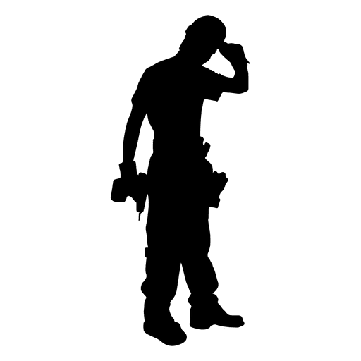 Construction worker screwdriver machine silhouette Transparent PNG