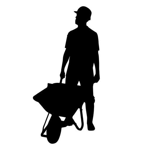 Construction worker wheelbarrow silhouette Transparent PNG