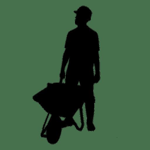 Construction worker wheelbarrow silhouette