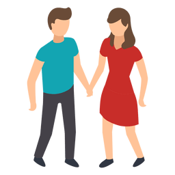 Couple hand in hand illustration