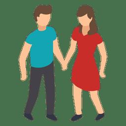 Par, mãos dadas, ilustração