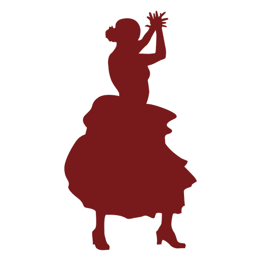 Bailaora de flamenco aplaudiendo silueta Transparent PNG