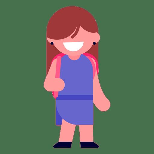 Ilustración de niña yendo a la escuela