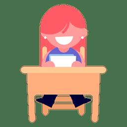 Menina, leitura, ilustração