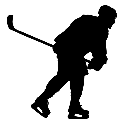 Hockey player skating silhouette