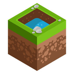 Lake isometric landscape