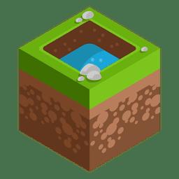 Lake isometric landscape