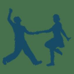 Lindy hop danza pareja silueta