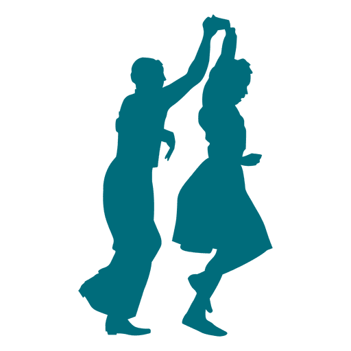 Lindy hop dance man spinning woman silhouette