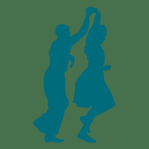 Lindy hop danza hombre mujer girando silueta