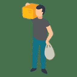 Homem, carregar, ilustração