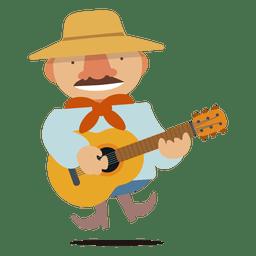 Homem, guitarrista, ilustração