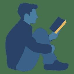 Hombre leyendo libro piso silueta