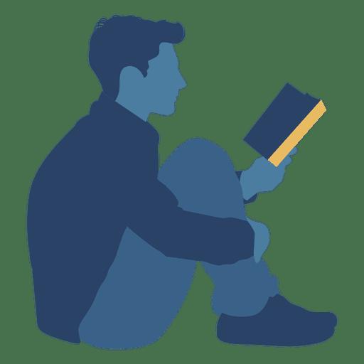 Hombre leyendo libro silueta de piso