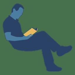 Mann liest ein Buch Silhouette