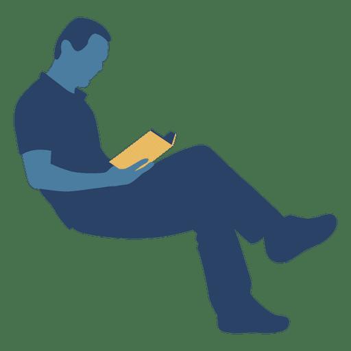 Hombre leyendo libro silueta