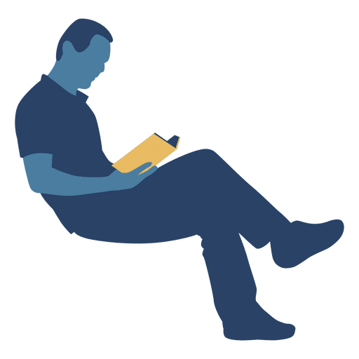 Man reading book silhouette