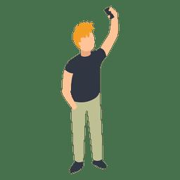Homem, levando, selfie, ilustração