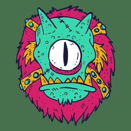 Monstruo cara cíclope ilustración